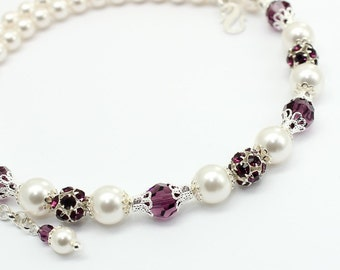 White Pearls Necklace, Amethyst Crystal Swarovski Elements, Bridal Bridesmaids Jewelry, Purple Eggplant Necklace, Statement Necklace