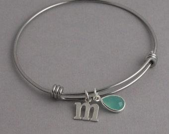 Initial Bangle Bracelet, sterling silver charm bracelet, initial bracelet, chalcedony