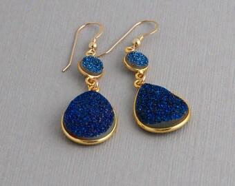 Blue Druzy Dangle Earrings