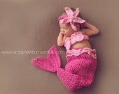 Pink Mermaid Baby Costume, Baby Girl Mermaid Photo Prop