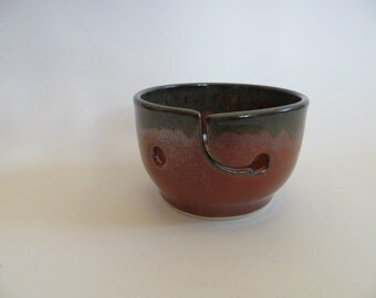 Ceramic Yarn Bowl, Knitting Bowl, Hand Made Pottery, Orange Red, In Stock, Yarn Holder, Julie Knowles Pottery, Yarn Bowl No. 17