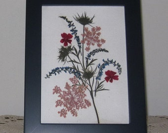 Rose, blue pressed flower art in Malden blue frame
