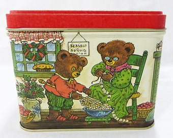 Tin box square bear print vintage trinket box