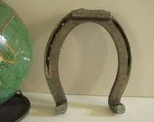 Large Vintage Silver Metal Horseshoe Horse Shoe Lucky Housewarming gift good luck