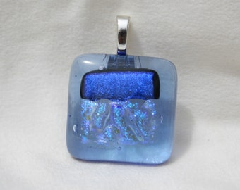 Dichroic Fused Glass Pendant-Transparent Light Blue hilighted with Several Blues#0193