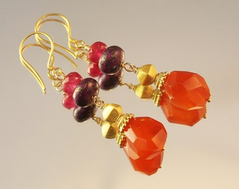 The Aquilia Pink Ruby, Purple Jade Rondelles and Carnelian Earrings with Bali Vermeil Caps and Bali Vermeil Ear Wires