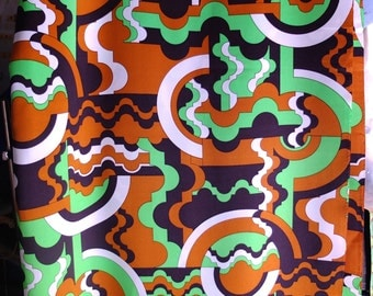 Vintage 1970s Mod Print Fabric Yardage - Pucci Esque Polyester Twill - Perfect for Costuming Dressmaking Halloween 70s Fashions - 3 plus Yd