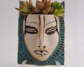 ceramic face planter, garden art, mas, wall planter, head planter