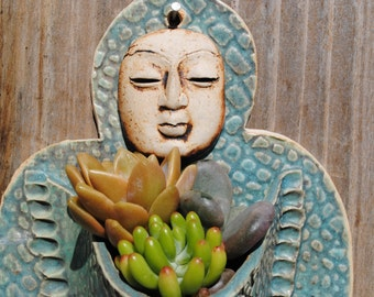 ceramic wall planter figurative garden art sculptural plant holder Buddha