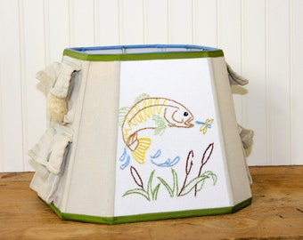 Lamp Shade - Fishing Lamp Shade - Lampshade - Vintage V est - Embroidered Fish - Cabin Decor - Childrens Lamp Shade - Man Cave - OOAK