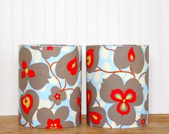 Medium Drum Shade - Lamp Shade - Lampshade - Amy Butler Morning Glory - Taupe and Red - Girls Lamp Shade - Pendant Shade - Lotus