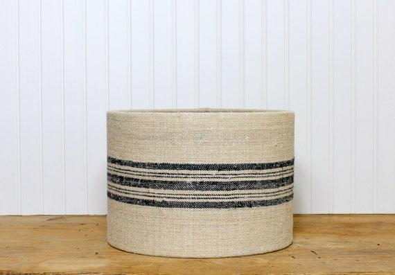grain sack drum shade lamp shade lampshade by sassyshades. Black Bedroom Furniture Sets. Home Design Ideas