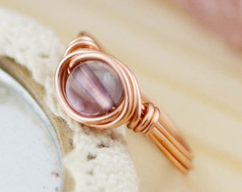 Charisma - Amethyst wire wrapped ring (SR) (A)