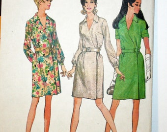 Vintage 1960s, Sewing Pattern, McCall's 9236, Wrap Around Dress, MIsses' Size 14, Bust 36""