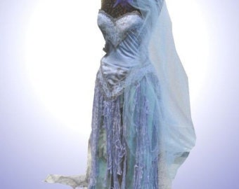 Custom Made To Order Corpse Bride Dress Costume or Wedding