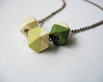Green Geometric Cube Necklace Trio Natural Wooden Bronze Link Chain Stripes