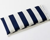 Blue and Cream Striped Cotton Eye Pillow filled with Flaxseed for Relaxation Meditation Lavender Aromatherapy