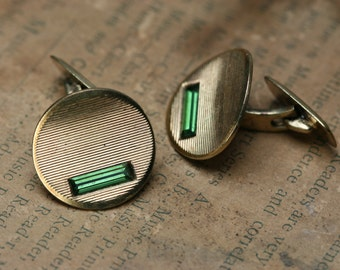Vintage Gold Tone Metal with Green Glass Stone Cufflinks - AMD