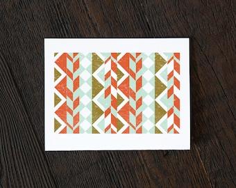 Simple Modern Pattern Greeting Card - Ojo Caliente - geometric, utah, new mexico, tribal, triangle, art deco, burnt orange, mint  (GEO157)