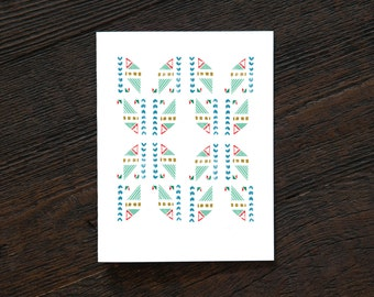 Greeting Card All Occassion Everyday - Southwest Quilt - New Mexico, pattern, simple, hipster, quilt, triangle, art deco, green, red (NM154)