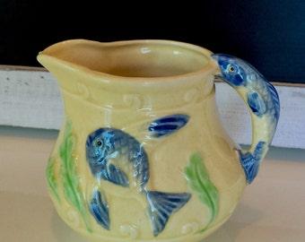 Japanese fish pitcher, asian fish pitcher, ceramic fish pitcher