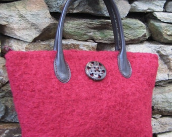 Autumn Red Purse Wool Felted Leather Straps Custom Lined