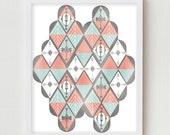 Geometric Print, Abstract Art Wall Hanging, Vintage Modern Art Print, Wall Decor Poster, Norwegian Harlequin Diamond Pattern, Pattern Print