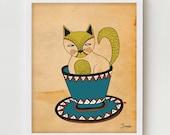 Cat Print Wall Decor, Digital Illustration Cat Poster, Pet Lovers Artwork, Cat Illustration, Kitty Print Art, Kitten Drawing, Digital Art