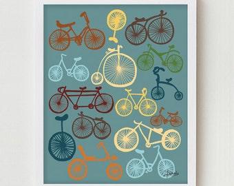 Bicycle Art, Digital Print, Blue Wall Decor, Digital Illustration, Modern Art Bike Poster, Antique Bicycle Art