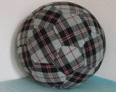Fabric Soccer Ball-  Grey & Red Plaid