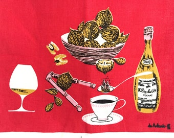 Tea Towel Mid Century Coffee Cup Cognac Bottle Walnuts