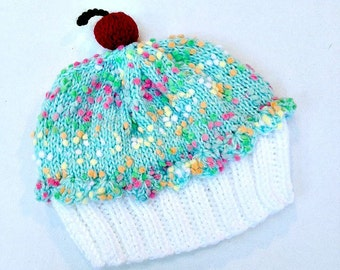 Cupcake Hat with Cherry on Top Marshmallow Creme White Cake Mint Green Frosting and Sprinkles baby toddler children adult 3 6 9 12 18 months