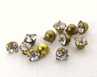 Vintage Swarovski Crystal Clear Rhinestone Brass Setting Tiny No Loop or Ring 3mm swa0641 (18)