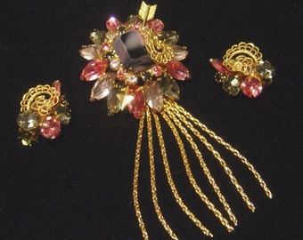 Stunning vintage Brooch & Earrings Designer Quality