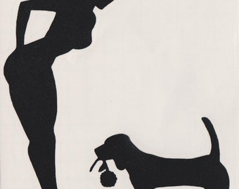Beagle and Pin Up Silhouette, White Vinyl Decal