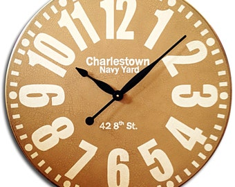 30in CHARLESTOWN Large Wall Clock Gallery Antique Style Family Heirloom FREE Inscription