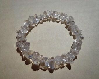 Bracelet Crystal Quartz Large Gemstone Chips on Elastic Cord 7.75 Inches