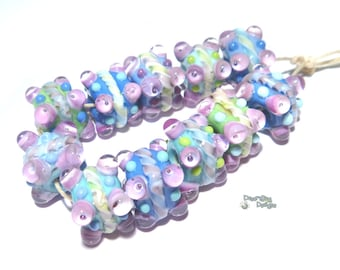 COOL CUBES Lampwork Beads Handmade Cool Color Mix Periwinkle Aqua Blue Green White  Purple   Set of 11