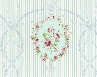 SALE  Rococo Sweet Lecien Spring 2015 Blue floral Cartouche 31139L-70  one yard