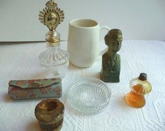 vintage glass collection, unique, perfume bottles, vintage lipstick holder, Chopin, handmade ceramic cup, mug, cork stopper, art,home décor