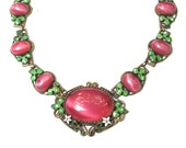 RESERVED Art Deco Enamel Glass Necklace Floral Mauve Deep Rose PInk Link Antique Jewelry
