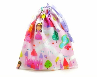 Princess Pouch Pink Drawstring Bag Girls Purse Jewelry Pouch Princess Castle Pastel Fairy Tale Bag