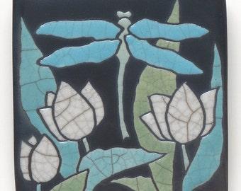 Dragonfly ,Ceramic handmade tile, tulips, home decor,a 4x4 inch raku art tile,wall art, handmade tile