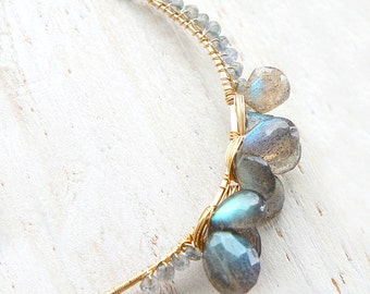 Labradorite Cluster Necklace, Grey Gemstone Pendant, Crescent Moon Jewelry, Statement Necklace