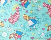 Fairy Tale, Alice Girl Cat Cats Mr. Rabbit Heart Floral Afternoon Tea Wonderland On Mint - Brushed Cotton Fabric (1/2 Yard)