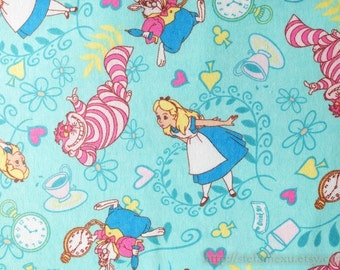 Fairy Tale, Alice Girl Cat Cats Mr. Rabbit Heart Floral Afternoon Tea Wonderland On Mint - Fleece Brushed Cotton Fabric (1/2 Yard)