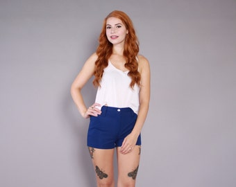 70s Navy Blue SHORTS / 1970s High Waisted Hot Pants xs