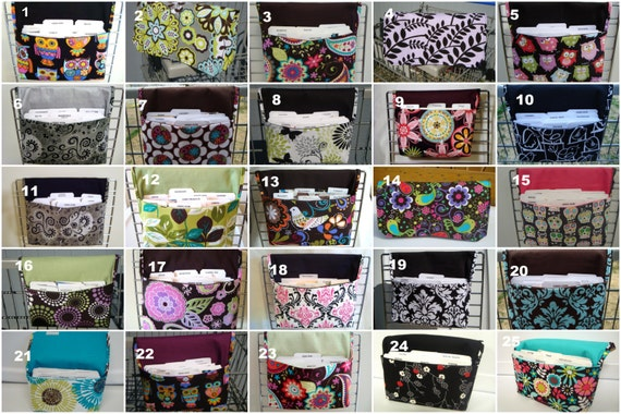 Coupon Organizer / Budget Organizer Holder - Attaches to your Shopping Cart- PICK ANY 3  -Choose Your Fabric