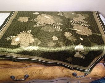Vintage Scarf BOLD FLORAL Olive Green 1970s Fashion Large