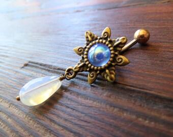 Belly Button Ring Jewelry. White Opal Drop Blue Rainbow Sunburst Belly Button Ring Navel Piercing Teardrop Tear Drop Sun Barbell Star Burst